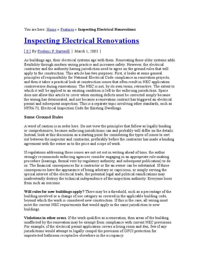 Iaei March 2003 Electrical Wiring Manufactured Goods Afci Keeps Tripping After Power Outage Faqs System
