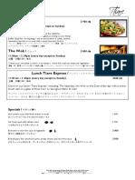 Menu Tiare Restaurant 2016