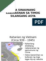 Mga Sinaunang Kabihasnan Sa Timog Silangang Asya