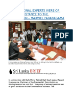 INTERNATIONAL EXPERTS WERE OF GREAT ASSISTANCE TO THE COMMISSION – MAXWEL PARANAGAMA.docx