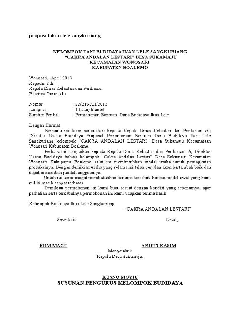 Contoh Proposal Ikan Lele Sangkuriang