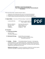 Lesson Plan in Curriculum Development