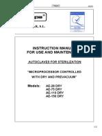 Raypa Sterilizer AE-28,75,110,150 - Instruction Manual