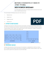 4 Types of Bonds Commonly Used in Brick Masonry Work