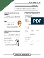 III Bim - 4to. Año - Alg - m.c.d. y m.c.m - Fracciones