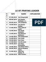 Schedule of Praying Leader