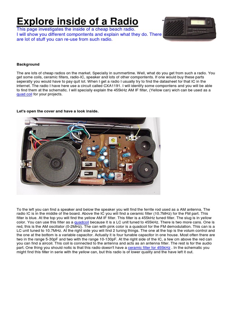 Explore inside a Radio pdf   Electronic Filter   Inductor