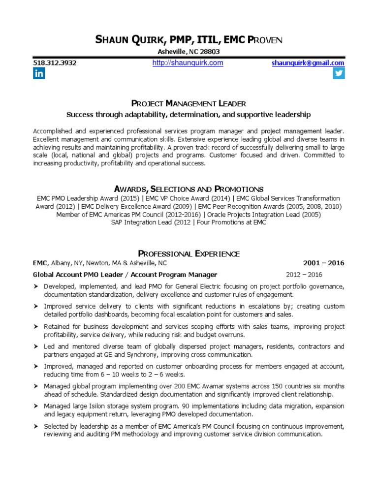 Resume Of Shaun Quirk Pmp Professional Certification Project
