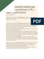 BBVA Research Estima Que Inflación Cerrará en 2