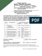 Certificado de Promoción de Colegio GALARZA
