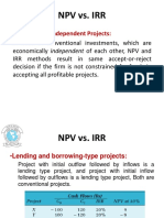 Npv vs Irr and Npv vs Pi