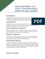 Conceptos Aplicables a La Construcción y Mantenimiento de Un Sistema de Agua Potable