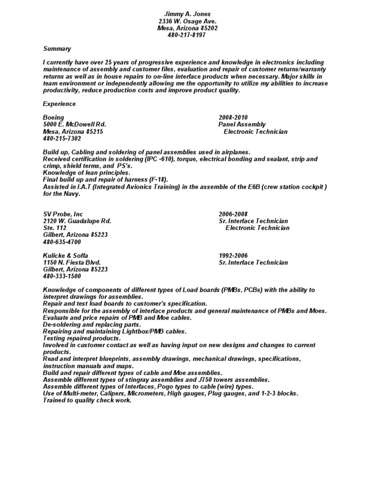 Jobswire com Resume of jimmyjjns | Printed Circuit Board