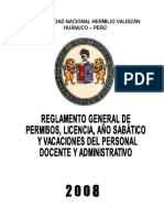 Regalmento General de Permisos, Licencias...