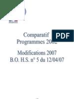 comparatif programme 2002 2007