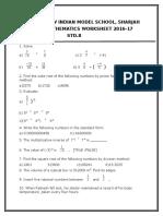 Maths Worksheet 8