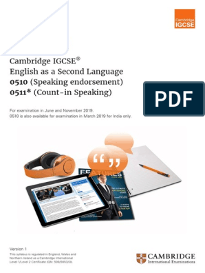 Igcse English Second Language-2019-Syllabus | English As A Second Or