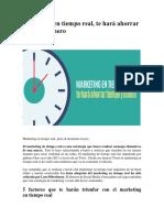 Marketing en Tiempo Real, Te Hará Ahorrar Tiempo y Dinero