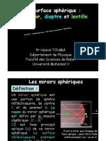 Surface Sphérique - Miroir, Dioptre Et Lentille. Pr Hamid TOUMA Département de Physique Faculté Des Sciences de Rabat Université Mohamed v (1)