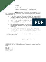Affidavit of Non-operation