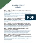 School Uniforms -debate-