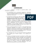 Comunicado Ministerio de Cultura Sobre BNP Y AGN
