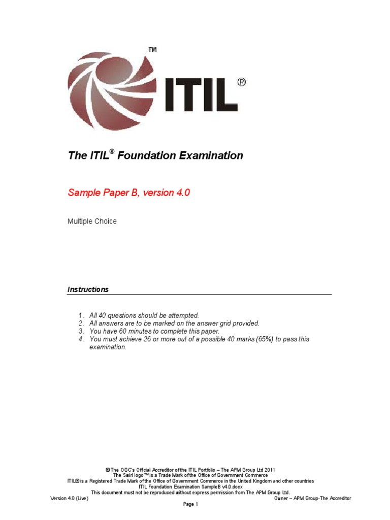 04 Itil Foundation Examination Sampleb V40pdf Itil Business