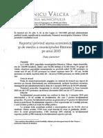 Raportul Privind Starea Economica Sociala Si de Mediu a Municipiului Rm- Valcea Pe Anul 2015