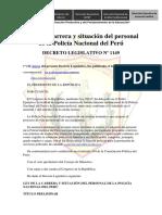 Decreto Legislativo 1149 Ley Carrera Situación Del Personal PNP Actualizado