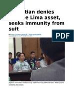 Sebastian Denies He's de Lima Asset