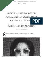 Mostra Anual Dos Alunos de Artes Visuais Da EBA-UFMG _ Mostra Anual Dos Alunos Da EBA _ Page 3
