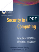 Security in Cloud Computing Front Page