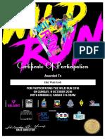 Wild Run 2016 Certificate