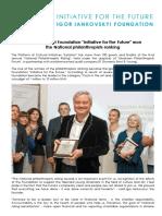 "Igor Iankovskyi Foundation ""Initiative for the Future"" won the National philanthropists ranking"