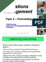 Topic 2 - Forecasting