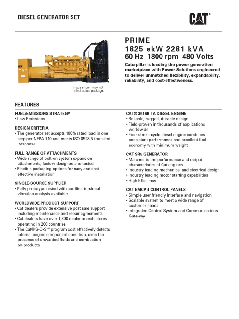 Generador CAT 3516B 1825 ekW pdf | Diesel Engine | Engines