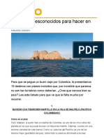 20 Planes Desconocidos Para Hacer en Colombia