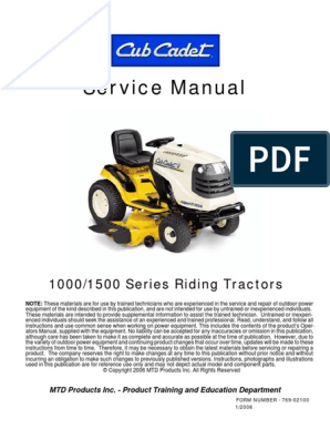 Cub Cadet 1000_1500 Service Manual | Transmission (Mechanics