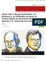 Oliver Hart y Bengt Holmström Un Británico y Un Finlandés Se Llevan El Premio N