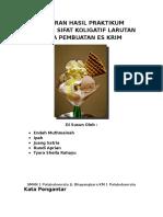 Laporan Hasil Praktikum Tentang Sifat Koligatif Larutan Pada Pembuatan Es Krim