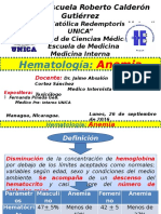 UNIDAD IV- Hematología - Anemia - Fernanda Pineda Gea - Medicina Interna UNICA.