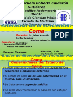 Unidad III- Neurología - COMA - Fernanda Pineda Gea - Medicina Interna UNICA