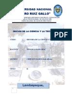Monografia Inicios de La Ciencia y La Tecnología