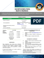 Convocatoria a Inscripcion Nuevo Ingreso