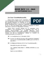 DECISION DCC 11-064 Cour Constitutionnelle