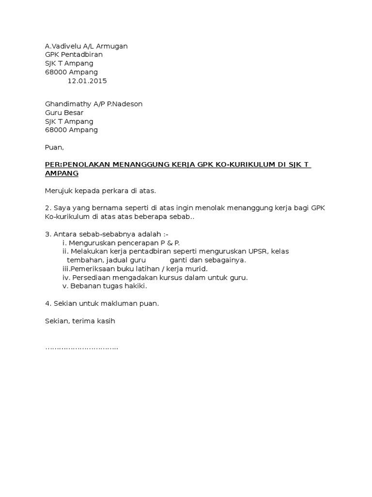 Surat Penolakan Tanggung Kerja
