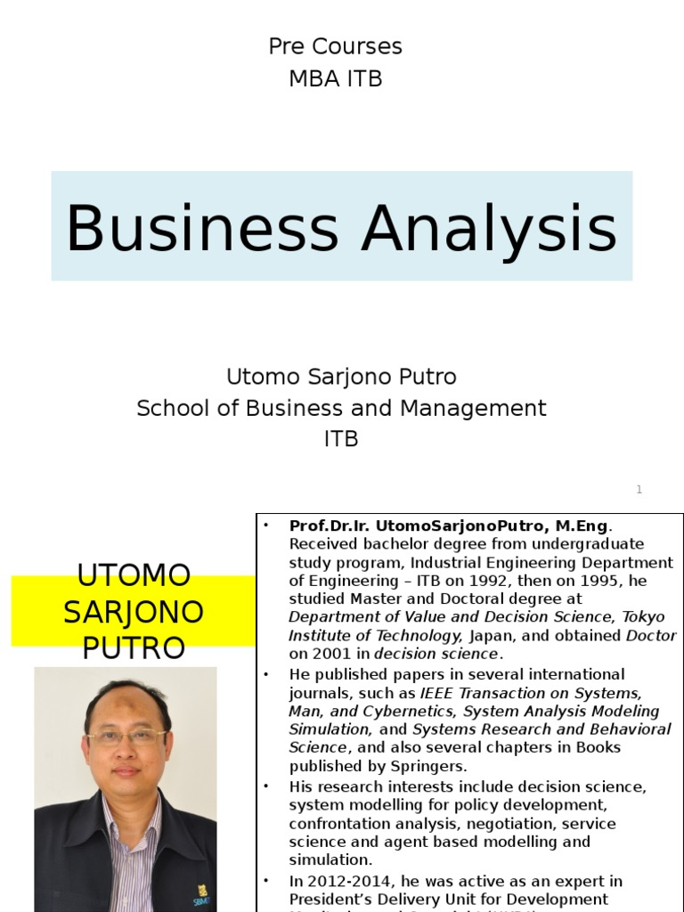 Business Analysis Pre Courses Mba Itb Master Of Business