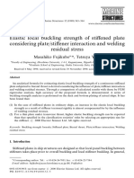 Elastic Local Buckling Strength of Stiffened Plate Considering Platestiffener Interaction and Welding Residual Stress