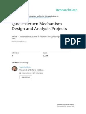 Quick Return Mechanism Design And Analysis Project Engineering Design Process Trigonometric Functions