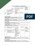 Cronograma de Clases Virtuales y Presenciales
